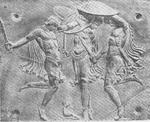 Οι Κουρήτες καλύπτουν με τον χορό τους (πεντοζάλι) το κλάμα του μικρού Δία για να μην τον ανακαλύψει ο Κρόνος.